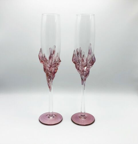 VINTAGE 2 x ION TAMAIAN GLASS CHAMPAGNE FLUTE PINK APPLIED TOASTING WINE PAIR