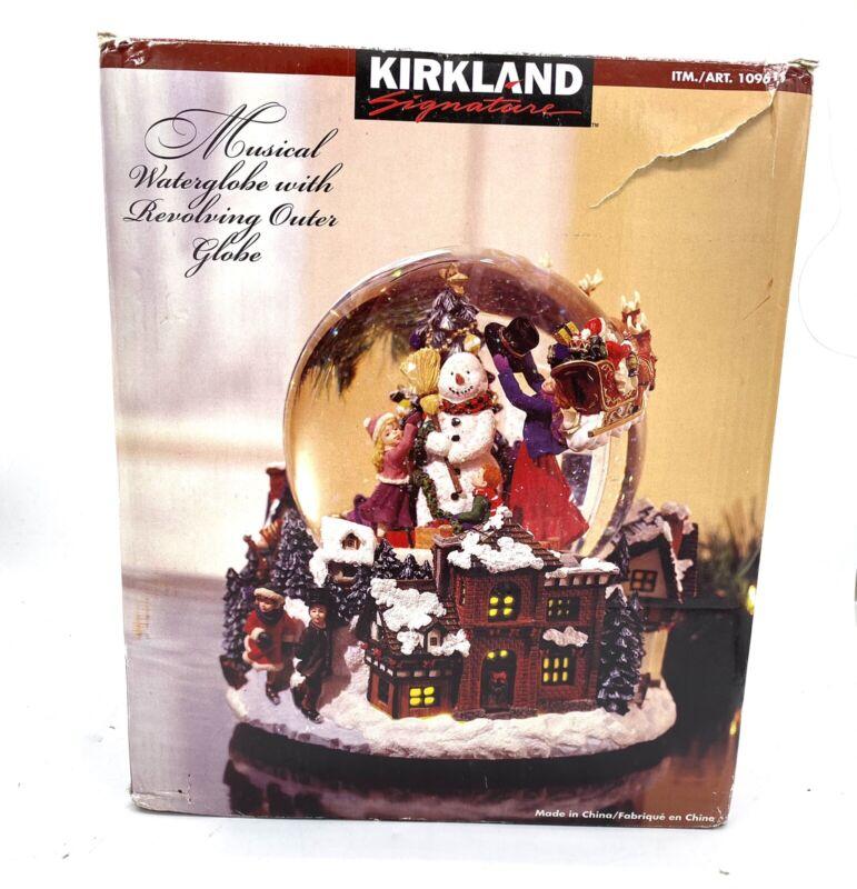 Kirkland Signature Musical Water Snow Globe #109619 Revolving Base Christmas BOX