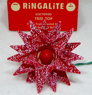 Vintage RINGALITE Triple STAR LIghted Tree TOPPER Works w/Box Red