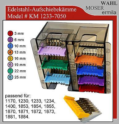 Moser Aufsteckkämme Art. 1233-7050 Edelstahl-Aufschiebekämme