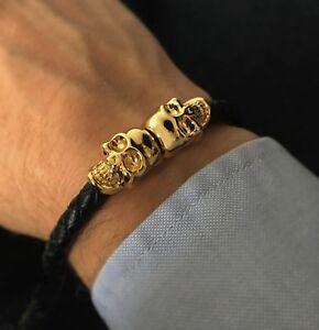 Genuine Leather Gold Skull Bracelet