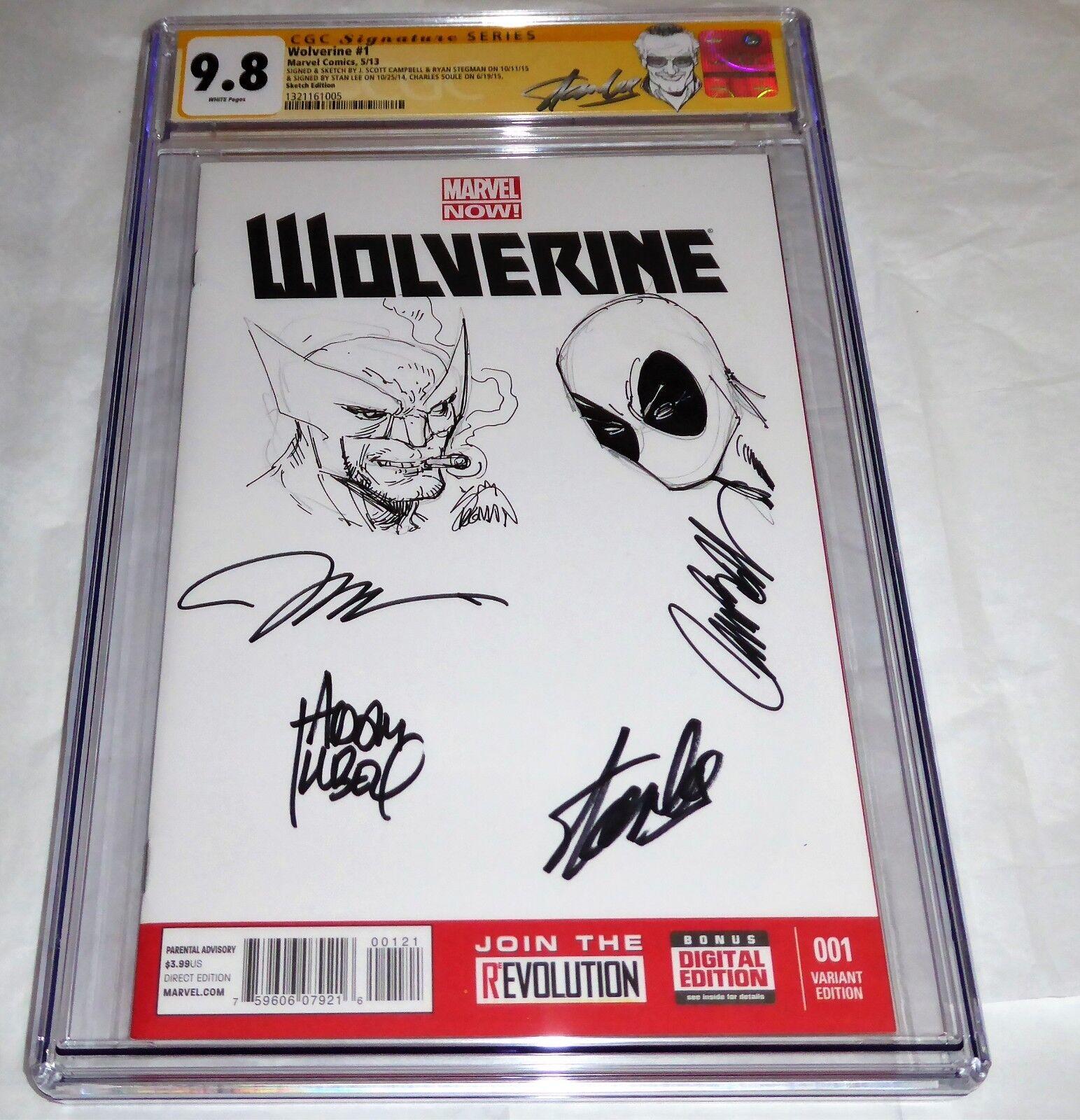 Wolverine #1 Signed & Sketched Deadpool CHRIS CLAREMONT STAN LEE STEGMAN JIM POW