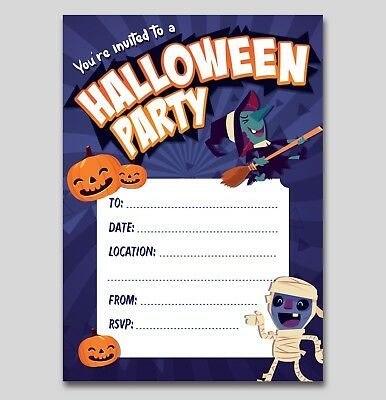 HALLOWEEN Party Invitations - 16 A6 Cards - Spooky Witch Pumpkin Kids Invite](Kids Halloween Party Invite)