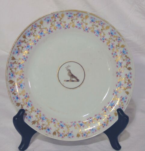 Antique Early 19th C Chinese Export Porcelain Plate Bird Medallion Olive Branch