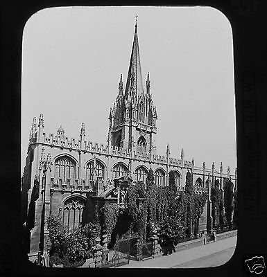 Glass Magic Lantern Slide ST MARY THE VIRGIN CHURCH OXFORD C1890 ENGLAND