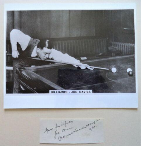 DAVIS JOE 1928-51 WORLD BILLIARDS and SNOOKER CHAMPION ORIGINAL INK AUTOGRAPH