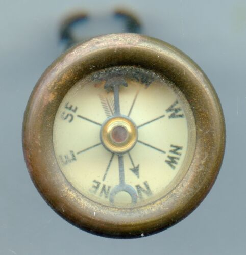 VINTAGE RARE ANTIQUE MARBLE ARMS & MFG. CO. BRASS LARGE PIN ON COMPASS WORKING