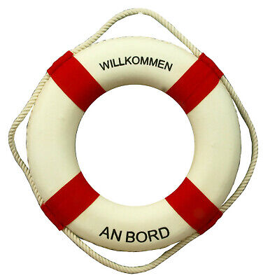 Deko Rettungsring 30cm rot/weiß *Willkommen an Bord* maritime Dekoration (PF)  ()