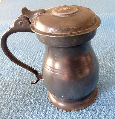ANTIQUE PEWTER TANKARD - 1/2 PINT MEASURE