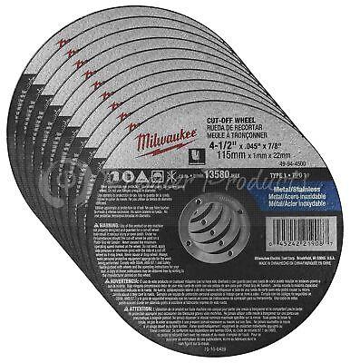 "Milwaukee 10 Pack - 4.5"" Cut Off Wheels For Grinders On Metal & Stainless Steel"