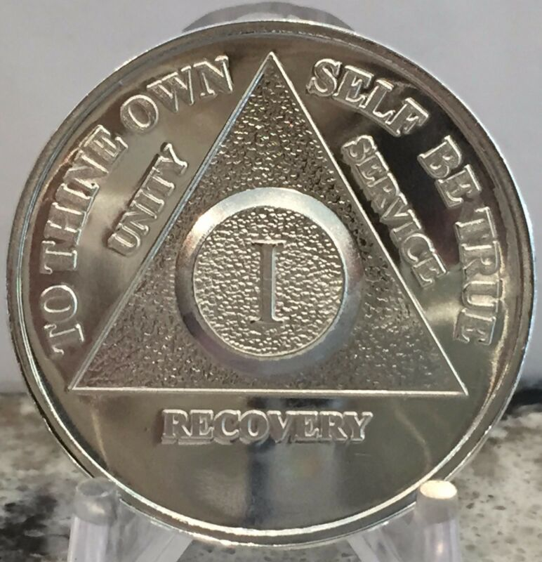 1 Year .999 Fine Silver AA Alcoholics Anonymous Medallion Chip Coin One .5 Ounce