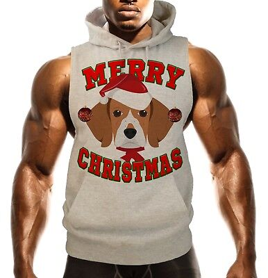 Men's Merry Christmas Beagle Gray Sleeveless Vest Hoodie Dog Holiday Santa B1473 Beagle Dogs Mens Hoodie
