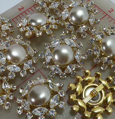 """12 vintage large gold buttons glass pearl marquis rhinestones 1 3/8"""""""
