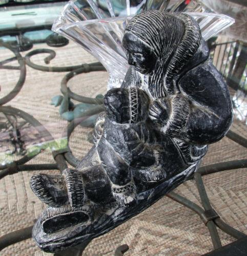 CANADIAN ESKIMO A Wolf Original CARVED Sculpture Mother Nursing Baby INUIT FOLK