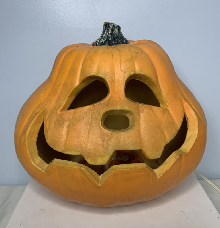 Vintage Gemmy Jack O Lantern Halloween Foam Mold Light Up Pumpkin 90s