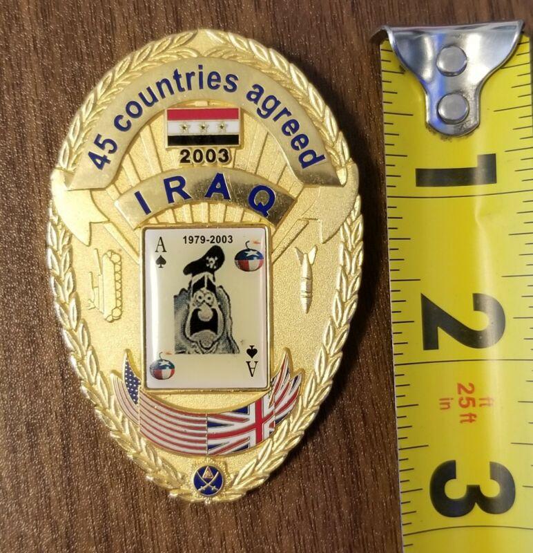 Iraq War Badge Money Clip. Saddam Hussein Ace of Spades Center Seal. Full Size