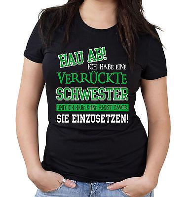 Verrückte Schwester Girlie Shirt | Superheld Damen Frauen Sprüche Frauentag