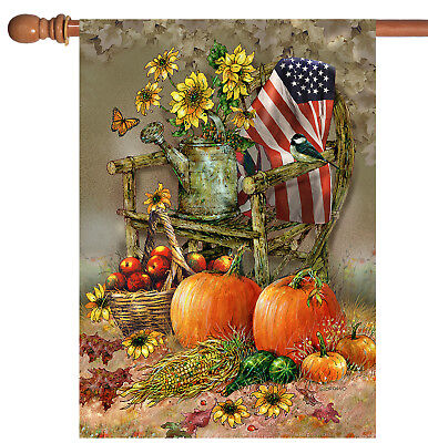Toland Autumn Chair 28 x 40 Patriotic Fall Autumn Pumpkin House Flag