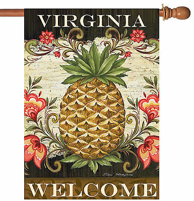 Pineapple Welcome House - Toland Pineapple & Scrolls Virginia Welcome 28 x 40 Regional House Flag