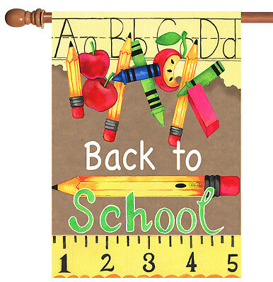 Toland Back to School Supplies 28 x 40 Crayon Pencil Ruler House Flag