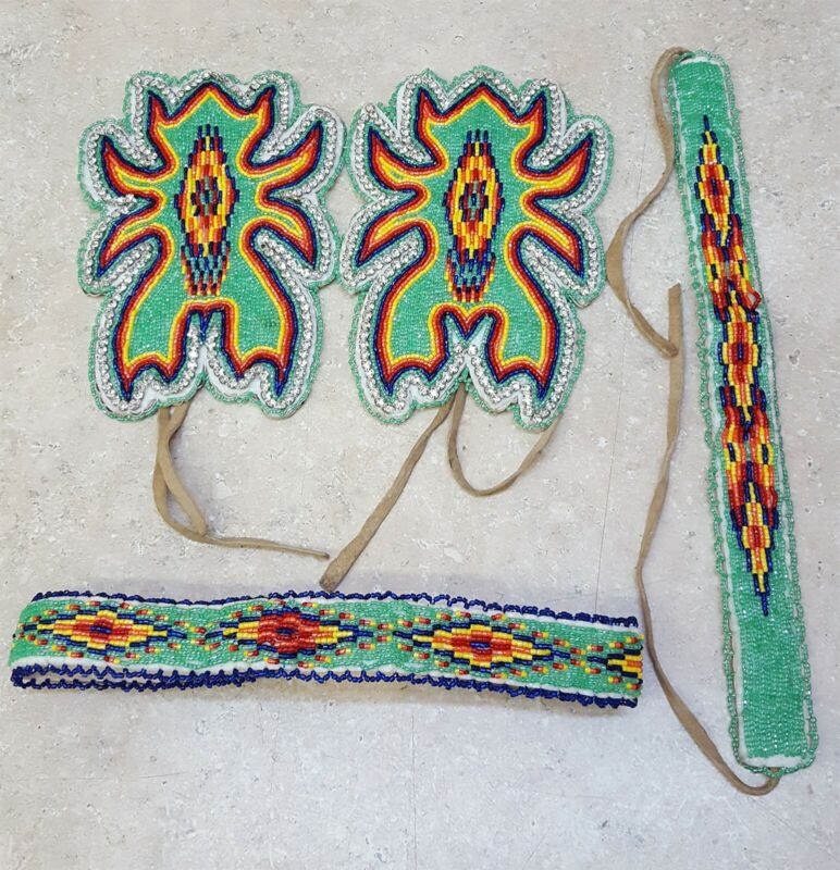 NICE 4 PC.HAND CRAFTED CUT BEADED GEOMETRIC DES.NATIVE AMERICAN INDIAN DANCE SET