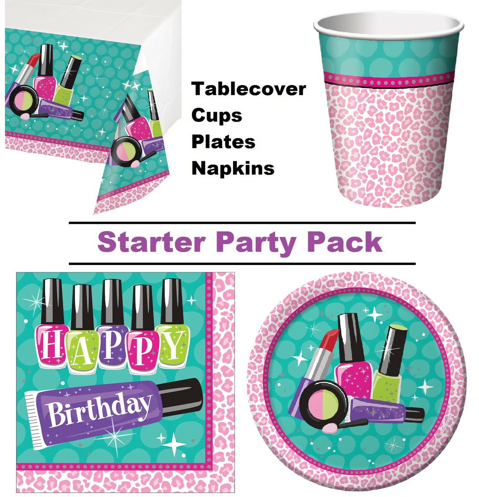 Funkeln Spa Make-Up 8-48 Gäste Party Starterpaket - Teller Becher Servietten