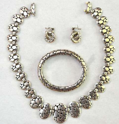 Authentic John Hardy Sterling Silver Necklace, Bracelet and Earrings Set