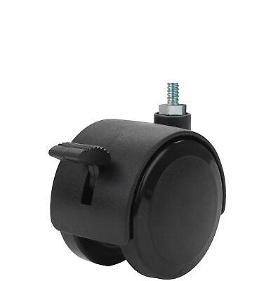 Twin Wheel Caster Solutions Twhn-50u-m10-bk-b 2 Diameter Nylon Wheel Hooded ...