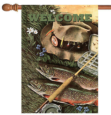Toland Fly Fishing Welcome 28 x 40 Outdoor Sport Fish Pole H