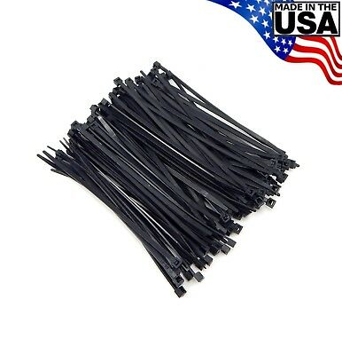 Zip Cable Ties 5 40lbs 100pc Uv Black Made In Usa Nylon Wire Tie Wraps