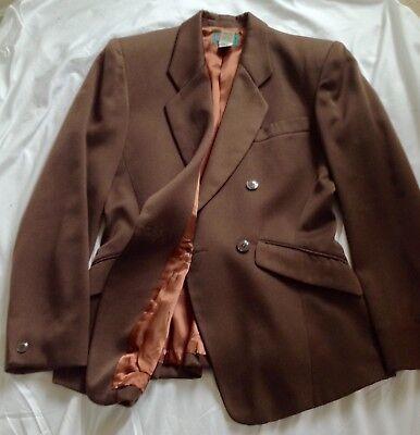 Stylish Rare Vintage Kenzo Ladies Brown Skirt Suit size 10 Perfect 1940's theme