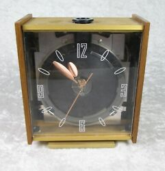 Mid Century Modern Electric Desk Clock Walnut 6-1/4 inches Tall Vintage 60's MCM