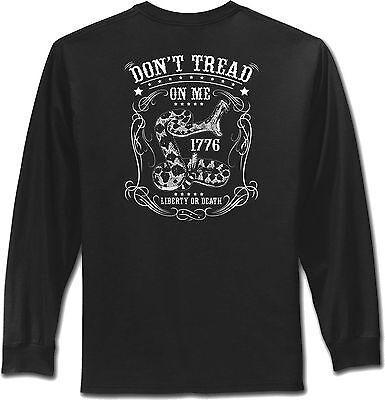 Dont Tread On Me T-Shirt Gadsden Serpent Second Amendment Long Sleeve Mens Shirt ()