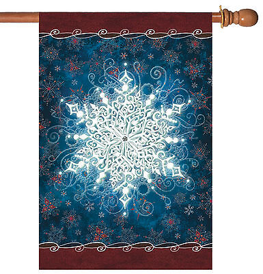 NEW Toland - Solo Snowflake - Bright Winter Snow House Flag