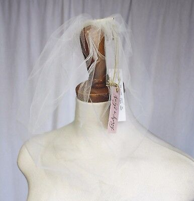 TWIGS & HONEY FOR J CREW TULLE BIRDCAGE VEIL WITH COMB IVORY WEDDING NWT C4153