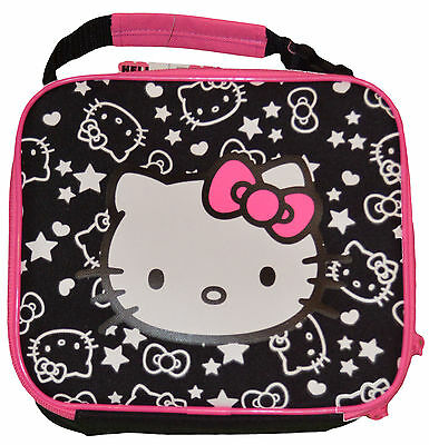 Old Navy Hello Kitty Black & Pink Hearts & Stars Lunch Box Tote Travel School (Hello Kitty Backpack Black)