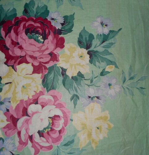 Antique Shabby Cottage Roses Floral Bouquet Cotton Fabric #2 ~ Pink Yellow Mint
