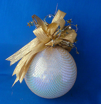 "6"" xl large gold net pearlized ball Christmas ornament with gold bow centerpiece"