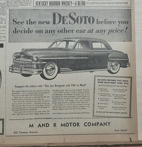 1949 newspaper ad for DeSoto -