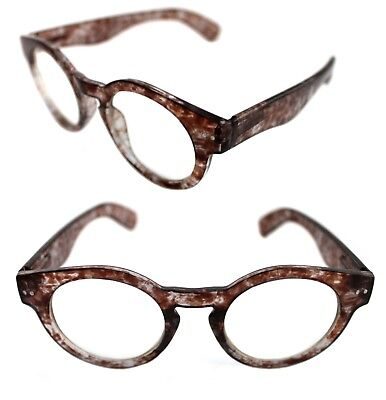 Men's Women's Thick Round Shape Clear Lens Eye Glasses Keyhole Tile Brown (Brown Round Glasses)