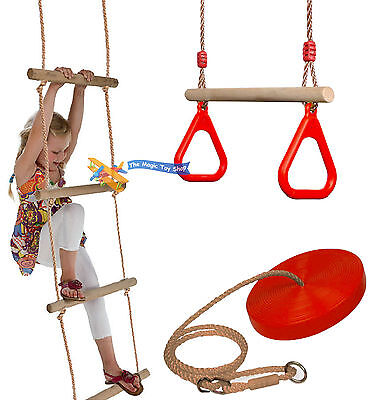 Set of Rope Ladder Wooden Trapeze Swing & Red Plate Seat Outdoor Garden Toy