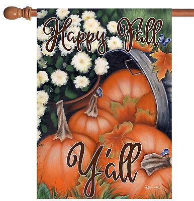 Toland Pumpkin Bunch 28 x 40 Happy Fall Y'all Autumn Mum House Flag