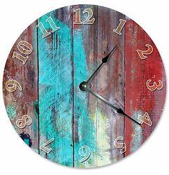 BLUE RED TAN Wood Paint Clock - Large 10.5 Wall Clock - 2066