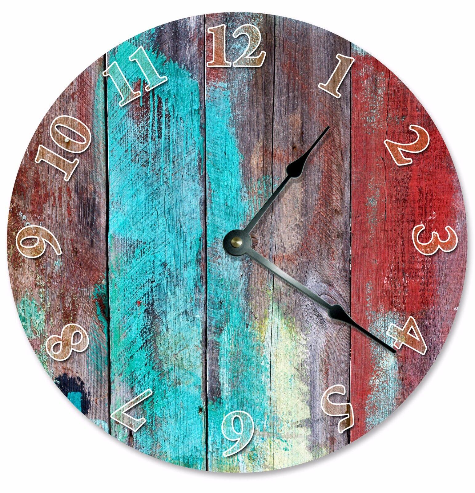 "BLUE RED TAN Wood Paint Clock - Large 10.5"" Wall Clock - 2066"