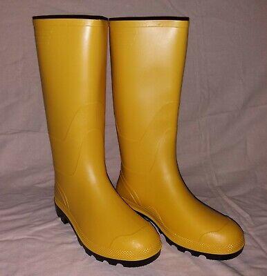gelbe Gummistiefel mit schwarzer Sohle für Damen u. Herren Regenstiefel PVC (Schwarze Stiefel Für Damen)