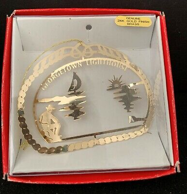 22 KT GOLD FINISH BRASS GEORGETOWN LIGHTHOUSE CHRISTMAS TREE ORNAMENT IN BOX ()