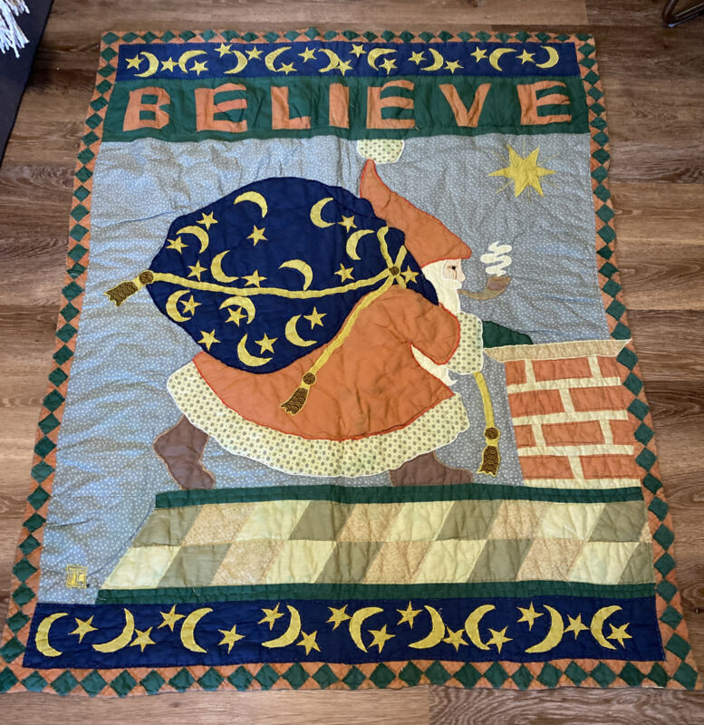 """Mary Engelbreit Quilted Wall Hanging Quilt ~ Lap Quilt """"Believe"""" Christmas Santa"""