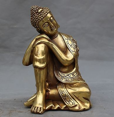 Collection Old Chinese Bronze Handwork Buddhism Sakyamuni Sleeping Buddha Statue