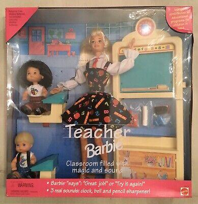1995 Teacher Barbie Play Gift Set * 3 Dolls * School Furniture Sounds New In Box