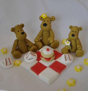 EDIBLE TEDDY-BEAR S PICNIC  BLANKET BOY GIRL BIRTHDAY CAKE TOPPER DECORATION
